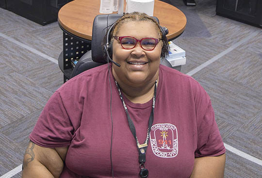 Tasharnda Gainey in Emergency Communications Center