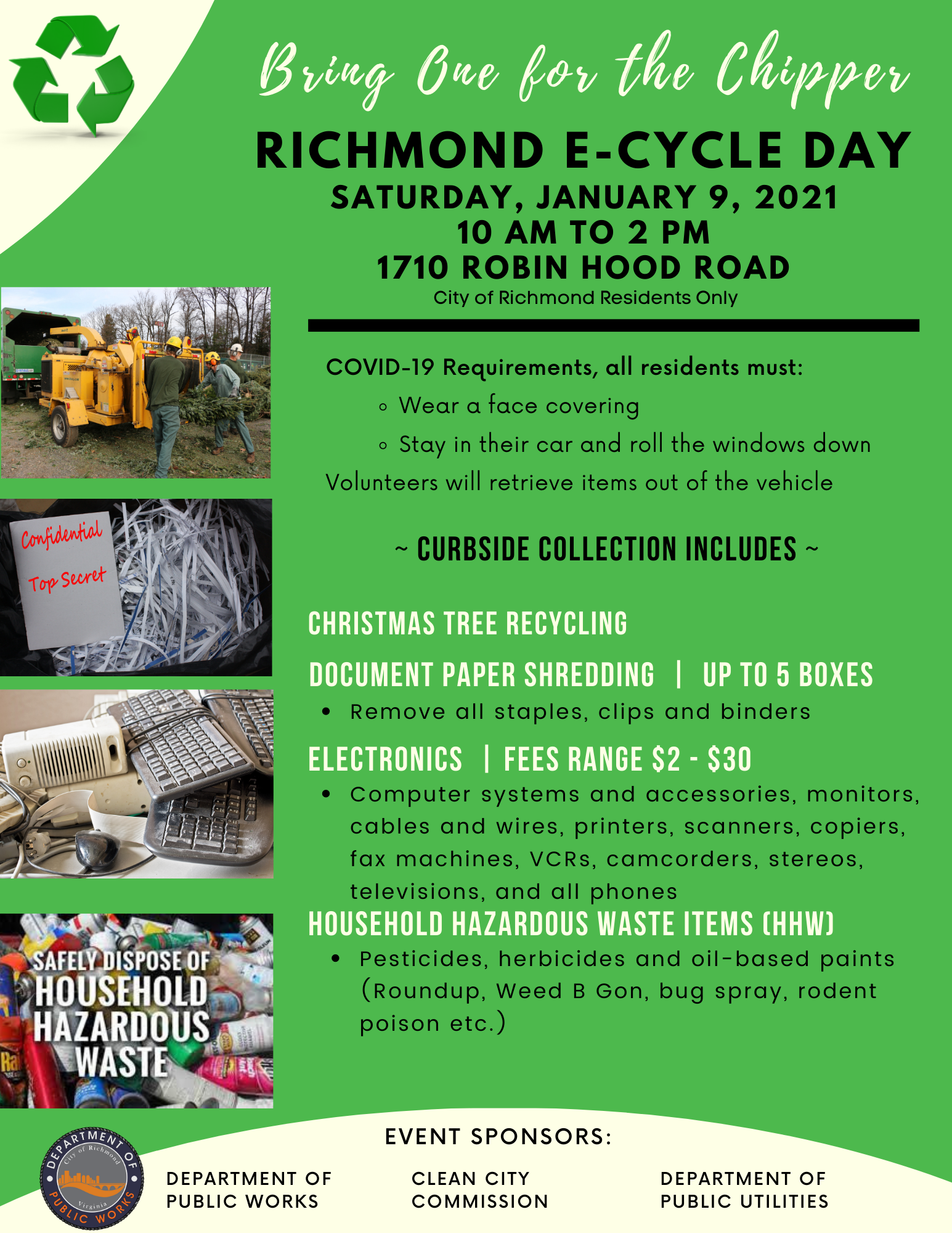 Bring One for the Chipper - Richmond ECycle Event January 9 2021