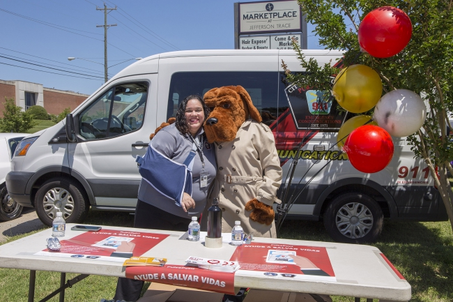 Staff and McGruff character at Fire Station event
